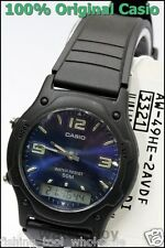 AW-49HE-2A Blue Casio Plactic Watch Dual Time Stopwatch Brand-New Analog Digital