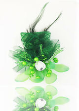 Hot 1pcs Feathers Gauze Headdress Corsage Flowers Dancing/Party  Hole Green