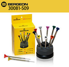 Original Bergeon 30081-S09  , 9 Pcs Screwdriver Set with Rotating Stand