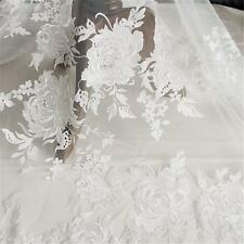 "51"" Wide Floral Bridal Lace Trimming Corded Embroidery Wedding Lace Fabric 1Yard"