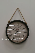 Large Vintage Parisian La Beaujolaise Distressed Brown Rope Hanging Wall Clock