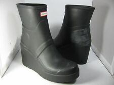 sz 9/ 40 NEW HUNTER Women's Original Mid Wedge Short Rubber Pull On Boot Black