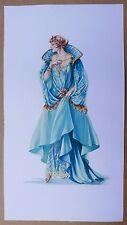 Dessin Ancien Gouache Étude MODE Costume Bleu Femme JOSIANE DESFONTAINES c.1950