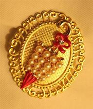 Swirled Rim Goldtone Red Enameled SimPearl Umbrella Rhinestones Brooch Pin