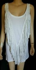 RARE SASS & BIDE White Long Fringe Tank Top Size Euro 38 Us 2 Fringed Design