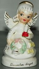 Vintage Napco Angel of the Month Figurine December Angel Holding a Candle Wreath