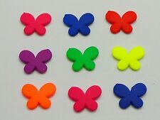 100 Mixed Fluorescent Neon Acrylic Butterfly Beads Charms 17X13mm Rubber Tone