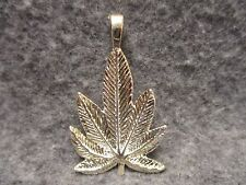 "NEW Marijuana Hemp Pot Leaf Pendant Charm Silver Tone w/ Fixed Loop 2"" Tall"