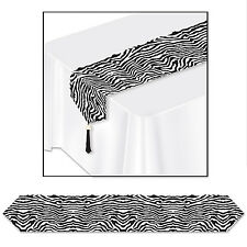 BLACK ZEBRA Jungle Animal Print TABLE RUNNER Birthday Party Decoration