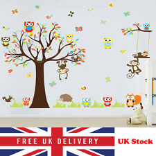Large Animal Jungle Owl Monkey Tree Wall Stickers Kids Bedroom Art Decor Mural