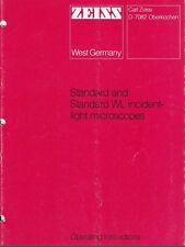 Zeiss Standard & Standard WL Reflected Light Microscope Operating Manual  on CD
