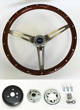 "Bronco F100 F150 F250 F350 Wood Steering Wheel High Gloss w/ Rivets 15"" Ford Cap"