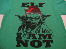 Yoda Funny Humor Stars Wars Christmas Holiday Apparel Santa Elf Green T Shirt M