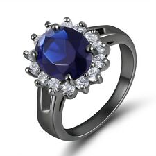 Size 7 Delicate Round Cut Blue Topaz 10K Black Gold Filled Women's Bridal Ring