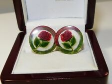 Charming 1950' British Lucite Red Rose Flower Reverse Carved painted  Earrings