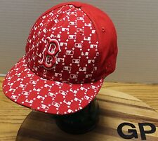 NEW ERA 59FIFTY BOSTON RED SOX FITTED HAT RED AND WHITE SIZE 7 3/8 VG CONDITION