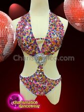 CHARISMATICO Multi colored stone studded leotard dress in a bra and thong set