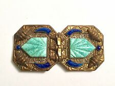 Vintage Art Deco Rare Czech NEIGER BROTHERS Peking Glass Belt Buckle Clasp