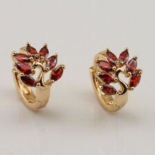 Blooming Red Garnet Fashion Jewelry Gift Gold Filled Huggie Earrings er1204