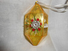 Vintage Jewel Brite Hard Plastic Diorama Lantern Gold Christmas Ornament
