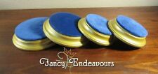 FOUR Gilt & Blue Velvet Round Display Stands Plinths for Jewelry or Figurine