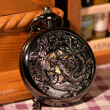 Unique Traditional Chinses Dragon Men Rare Mechanical Hand Wind FOB Pocket Watch