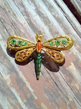 18K GOLD PLATED PERIDOT AND AMBER CRYSTAL DRAGONFLY BROOCH PIN CZECH REP