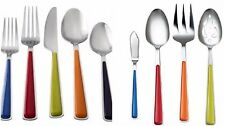 Forks and Spoons Color Flatware Set 40 Pc Service for 8 with 5 Serving Utensils