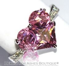Beauty for Ashes Girls Womens Silver Tone Possible Pink Cz Heart Valentine Ring