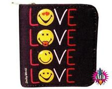 SMILEY FACE EMOJI WORLD LOVE BLACK ZIP WALLET NEW WITH TAGS