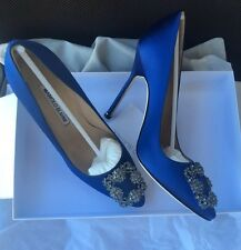 NIB Auth MANOLO BLAHNIK Hangisi 115mm Crystal-buckle Satin Pumps, Cobalt Blue 38