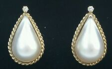 Vintage 14k Yellow Gold Mabe Pearl Diamond Earrings  6.4 gm