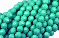 50 GREEN TURQUOISE FACETED ROUND CZECH GLASS BEADS 6MM