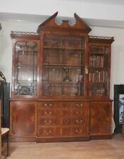 Mahogany Victorian Breakfront Bookcase Gothic Bookcases Furniture