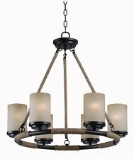 Hunter 6 Light Bronze Rope Candle Style Chandelier! Shaped Glass Rustic Country