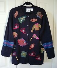 MICHAEL SIMON Lite Women's Size Large Football Themed Button Front Jacket *Cute*
