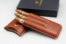 Brand New Portable Travel COHIBA Brown Weaving Leather Cigar Case Holds 3 Cigars