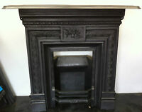 Original Restored Antique Victorian Cast Iron Bedroom Fireplace Small (BL497)