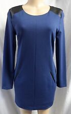 """""""BANANA REPUBLIC"""" BLUE FAUX LEATHER INSETS CAREER CASUAL DRESS SZ: 6 NWT $110"""