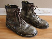 Vtg Dr. Martens Air Wair Gray 1460 8-Eye Boots Made in England Men's UK Size 8