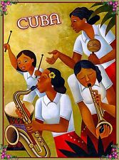 Cuba Cuban Havana Habana Caribbean Bongo Drums Travel  Advertisement Poster