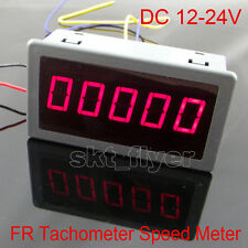 DIGITAL Red LED Frequency Tachometer Rotate Speed Car Meter DC 12-24V 79x43mm