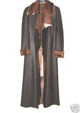 Señoras para mujer Napa De Piel Forrada Abrigo Impermeable Marrón Chocolate Talla S/M