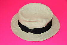 LADIES ELEGANT BEIGE STRAW BEATER HAT BLACK THICK RIBBON UNIQUE STATEMENT(HT4)