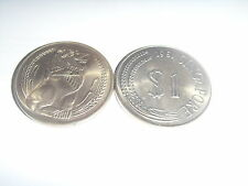 1967/1968/1969/1970/1971/1974/1981 old Singapore One dollar Coin