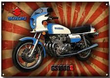 SUZUKI CLASSIC GS1000S METAL SIGN,1970'S,RETRO,SUPERBIKE,ENAMELLED FINISH.