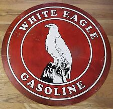 "WHITE EAGLE GASOLINE RED & WHITE 28"" ROUND ADVERTISING GAS STATION SIGN"
