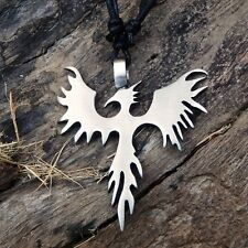 SILVER PEWTER FIRE BIRD PHOENIX PENDANT With Cotton Necklace Free Shipping #1769