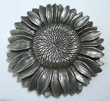 DANFORTH  Detailed SUNFLOWER DAISY FLOWER BROOCH PIN PEWTER 1994~EXCELLENT~1.75""