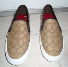 BRAND NEW COACH BROWN COMBO SLIP ON SNEAKERS SHOES SIZE 9 1/2 M